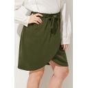 Popular Self-Tie Waist Asymmetric-Hem Mini Army Green Wrap Skirt for Women