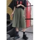 Girls Cool Plain Elastic Waist Flap Pocket Side Midi A-Line Cargo Skirt