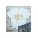 Future Mrs Gold Letter Pattern Round Neck Short Sleeve White Tee