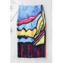 Womens Chic Unique Colorful Painting Midi Fitted Pencil Skirt