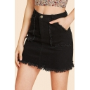 Womens Hot Fashion Black High Waist Raw Hem Pockets Front Mini Bodycon Denim Skirt