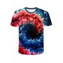 Unique Creative Whirlpool 3D Printed Round Neck Short Sleeve Blue Tee