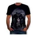 Cool Funny Wolf and Beauty 3D Printing Round Neck Short Sleeve Black Tee