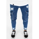 Men's Popular Fashion Double Flap Pocket Side Blue Skinny Casual Ripped Jeans