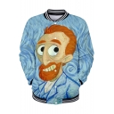 Funny Cartoon Figure Van Gogh Oil Painting Stand Collar Blue Button Down Baseball Jacket