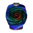 Cool Unique Tie Dye Whirlpool 3D Print Stand Collar Button Down Baseball Jacket
