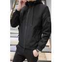 Mens Casual Fashion Camo Patched Long Sleeve Zip Up Hooded Jacket