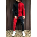 Mens Hot Popular Fashion Colorblock Two-Tone Slim Fit Zip Up Hoodie with Fitted Pants Two-Piece Set