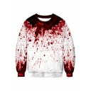 Trendy Halloween Horrible Red Blood 3D Print Round Neck Long Sleeve Sweatshirt