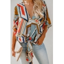 Womens Colorblock Geometric Printed V-Neck Tied Hem Casual Loose Blouse Top