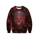 Hot Popular Halloween Cool 3D Skull Printed Basic Round Neck Long Sleeve Pullover Sweatshirt