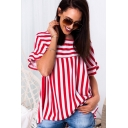 Womens Summer Popular Stripe Pattern Round Neck Short Sleeve Loose Casual Blouse Top