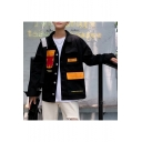 Guys Street Fashion Cool Multi-Pocket Long Sleeve Button Down Overshirt Workwear Jacket