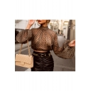 Womens Sexy Sheer Mesh Black Polka Dot Print Lantern Long Sleeve Crop Chiffon Blouse
