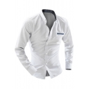 Mens Cotton Simple Polka Dot Printed Long Sleeve Button Down Fitted Business Shirt