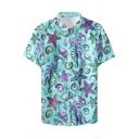 Mens Fashion Hawaiian Style Shell Printed Short Sleeve Button Front Beach Shirt