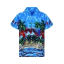 Mens Summer Trendy Holiday Tropical Printed Short Sleeve Button Up Beach Hawaiian Shirt