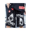 Men's Trendy Cool Letter Shark Stars Printed Drawstring Waist Casual Loose Cotton Sweat Shorts