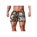 Men's Summer Fashion Cool Camouflage Printed Drawstring Waist Mesh Cloth Training Shorts