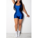 Womens New Trendy Sexy Candy Color Scoop Neck Backless Bodycon Romper