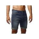 Men's Summer Fashion Vintage Washed Rolled Cuffs Blue Slim Fit Denim Shorts