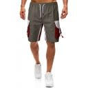 Men's Summer New Stylish Colorblock Buckle Flap Pocket Drawstring Waist Leisure Cotton Cargo Shorts