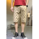 Men's Summer New Fashion All-over Printed Casual Cotton Chino Shorts