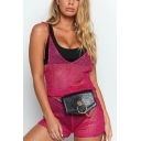 Summer Girls Hot Sexy Pink Cutout Deep V Neck Spaghetti Straps Backless Mesh Fishnet Romper