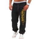 Men's New Stylish Letter Printed Drawstring Waist Loose Fit Casual Sweatpants