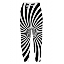 Men's Fashion Creative 3D Rotating Line Printed Black and White Drawstring Waist Relaxed Sweatpants