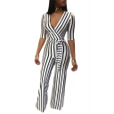 Summer Womens New Stylish White Striped Plunge V-Neck Short Sleeve Wide leg Fitted Jumpsuits