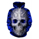 New Stylish Blue Floral Skull Pattern Long Sleeve Pullover Drawstring Hoodie