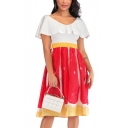 Womens Summer Fancy V-Neck Ruffled Hem Gathered Waist Midi A-Line Dress