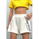 Girls Summer Popular Letter CUTE AND PSYCHO Printed Elastic Waist Loose Fit White Shorts