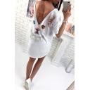 Fashion Cat Butterfly Print V-Back Short Sleeve Casual Loose White Mini T-Shirt Dress