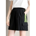 Womens Summer Colorblocked Elastic Waist Flap Pocket Side Loose Cargo Shorts