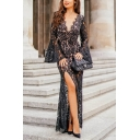 Womens Hot Classic Sheer Lace Bat Sleeve V Neck Split Side Maxi Petite Evening Dress