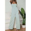 Womens Stylish Simple Plain Cotton and linen Straps Shirred Fitted Blouse Top Wide Leg Jumpsuit