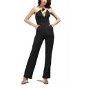 Women's Sexy Plunge V-Neck Black Off Shoulder High Waist Pocket Front Bustier Jumpsuits