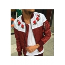 Mens New Stylish Chic Floral Embroidery Stand Collar Long Sleeve Zip Up Bomber Jacket
