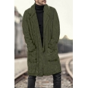 Guys Winter New Stylish Simple Plain Notched Lapel Collar Longline Fluffy Fleece Coat