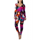 Women's Hot Fashion Sexy Strapless Long Sleeve Tie Dye Tie-Front Slim Fit Jumpsuit