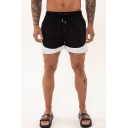 Men's Basic Fashion Colorblocked Drawstring Waist Casual Relaxed Sports Shorts