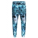 Creative Fashion Cool Skull Floral 3D Printed Blue Drawstring Waist Casual Relaxed Jogging Sweatpants