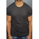 Mens Stytlish Ripped Hole Hollow Round Neck Short Sleeve Slim Fit T-Shirt