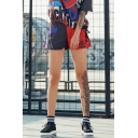Cool Girls Skull Logo Printed Black and Red Casual Loose Sport Shorts
