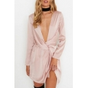 Womens Hot Sexy Fashion Plain Plunge V Neck Twist Waist Long Sleeves Mini Dress