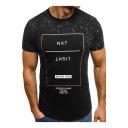 Mens Unique Letter NEXT LIGHT Print Round Neck Short Sleeve Slim Fitted T-Shirt