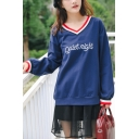 Simple Letter QUIET NIGHT Embroidery Striped V-Neck Long Sleeve Cotton Sweatshirt