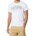 Mens Summer Simple Letter HOPE Print Short Sleeve Cotton Tee